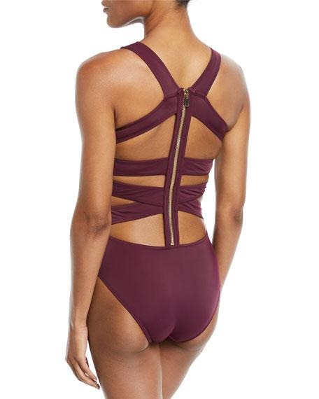 Carlotta Zip-Back Strappy One-Piece Swimsuit in Purple