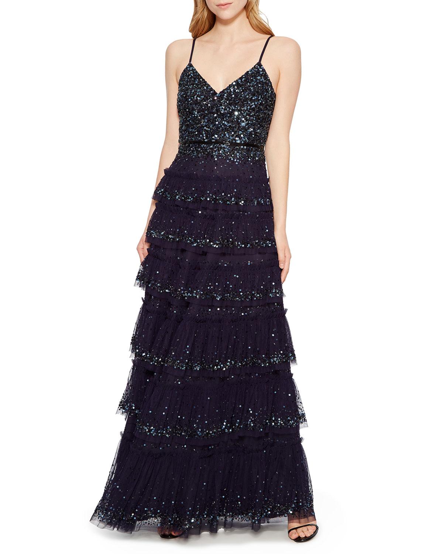 Parker Black Miranda Tiered Sequin Tulle Formal Gown Dress Neiman
