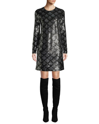 Long-Sleeve Sequined Shift Dress
