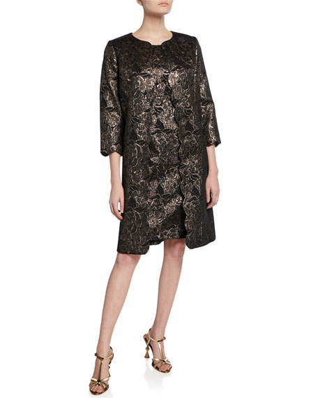 Albert Nipon Two-Piece Metallic Dress & Topper Set
