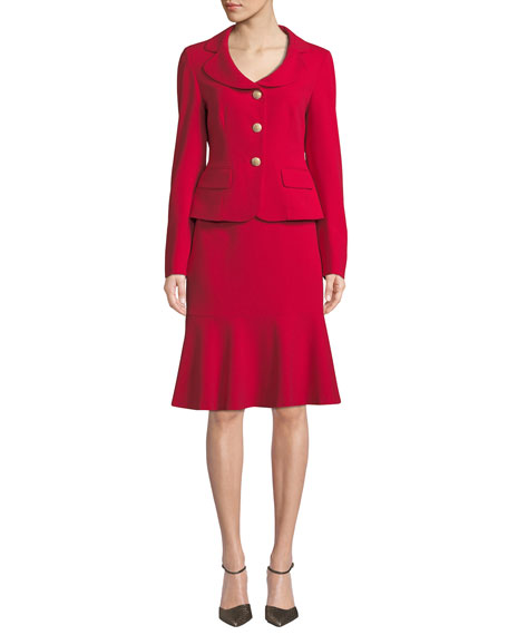 ALBERT NIPON Two-Piece Jacket & Flounce Skirt Set in Crimson