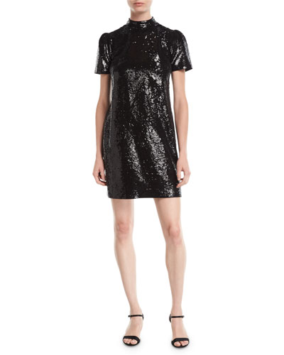 Short-Sleeve Mock-Neck Sequined Dress