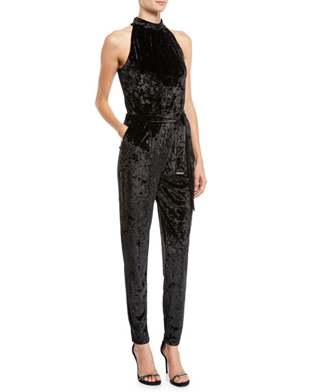 Mock-Neck Velvet Jumpsuit
