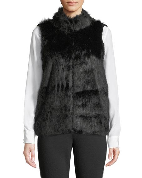 Sweater-Back Faux-Fur Vest