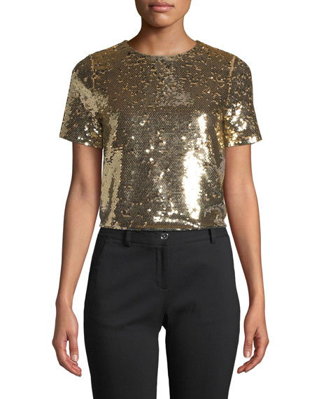 Crewneck Sequined Crop Top