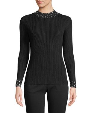 ae93b9702f5e MICHAEL Michael Kors Embellished-Collar Ribbed Sweater