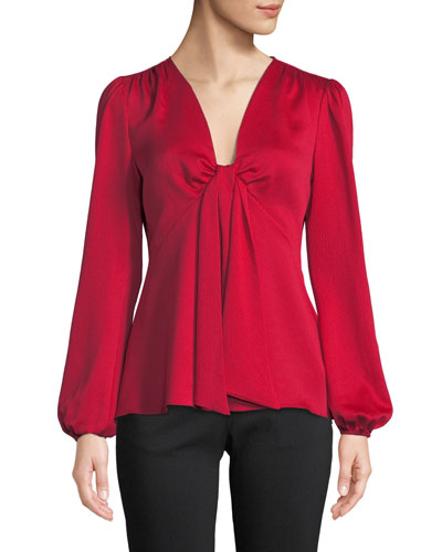 Tie-Neck Long-Sleeve Woven Blouse