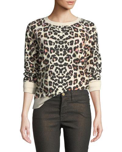The Square Leopard-Print Crewneck Pullover Top