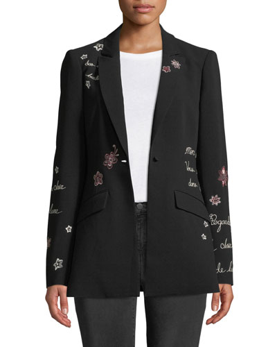 Estelle Embroidered One-Button Jacket