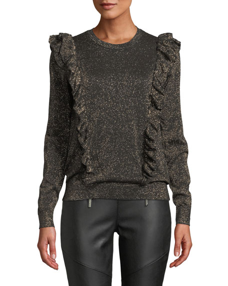 MICHAEL Michael Kors Ruffle-Trim Long-Sleeve Metallic Knit Top