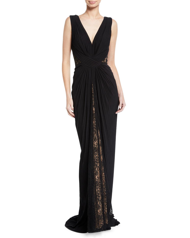 Tadashi Shoji Pintuck Jersey & Lace V-Neck Gown | Neiman Marcus