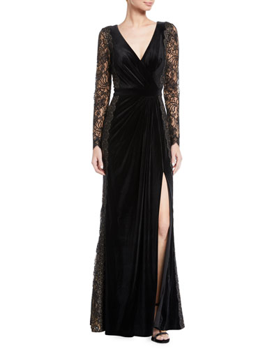Lace Long-Sleeve Velvet Gown