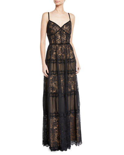 Sleeveless Lace & Pleated Dress