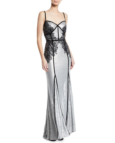 Sequin & Lace Sleeveless Gown