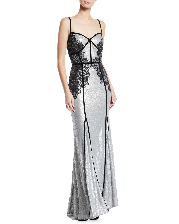 Tadashi Shoji Sequin & Lace Sleeveless Gown | Neiman Marcus