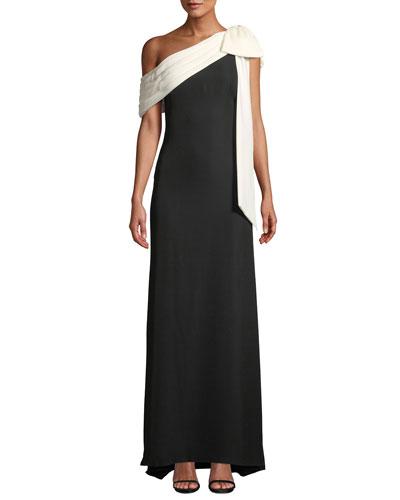 Cassia Colorblock Bow-Shoulder Crepe Gown