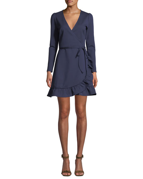 DONNA MIZANI Kira V-Neck Mini Wrap Dress in Navy