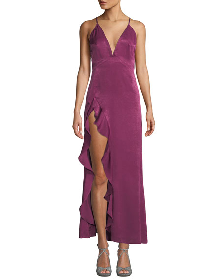 DONNA MIZANI Madame High-Slit Crisscross-Back Dress in Dark Pink