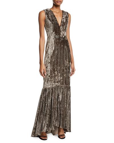 Sleeveless Velvet & Embellished Gown