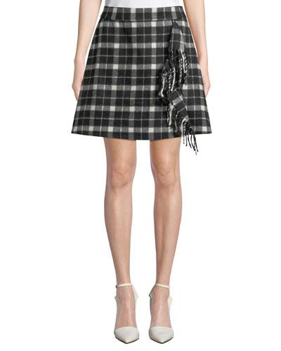 rustic plaid fringe mini skirt