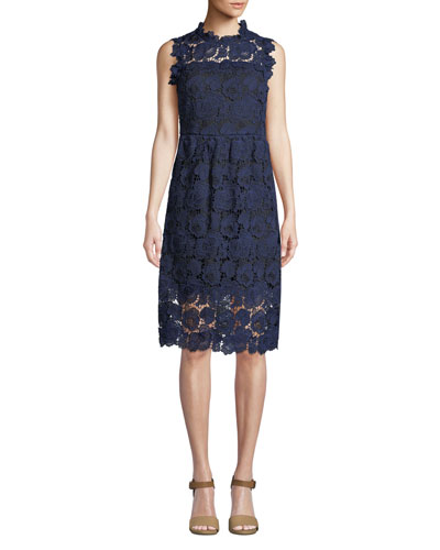 bicolor lace midi dress