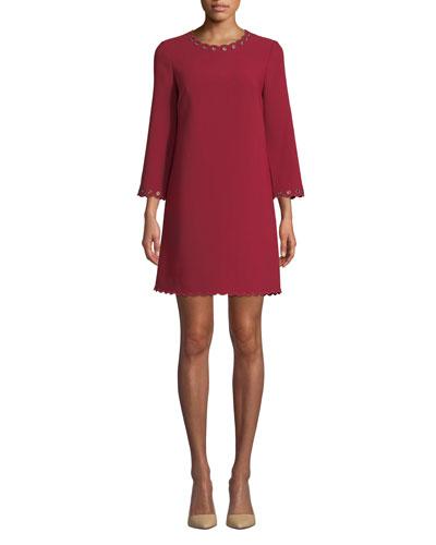scalloped grommet shift dress