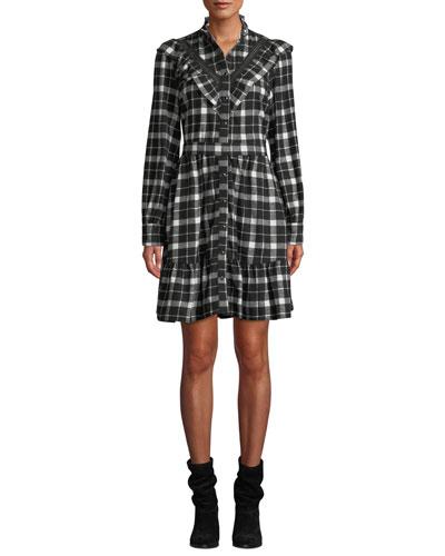 rustic plaid flannel shirt dress
