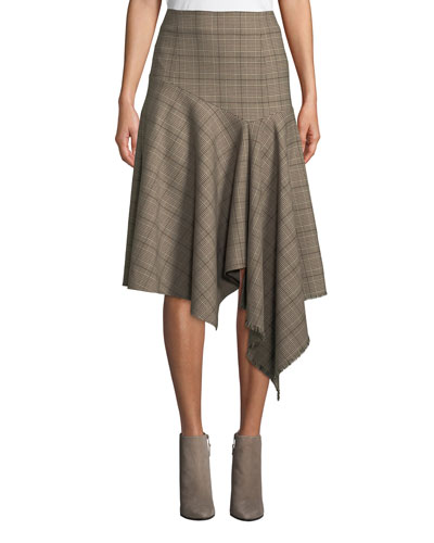 First Bet Asymmetric Plaid Skirt