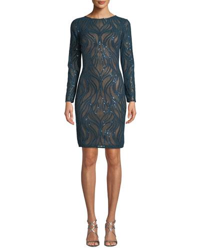 Sequin Long-Sleeve Sheath Dress