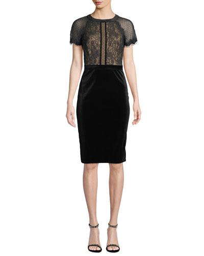 Lace & Velvet Short-Sleeve Dress