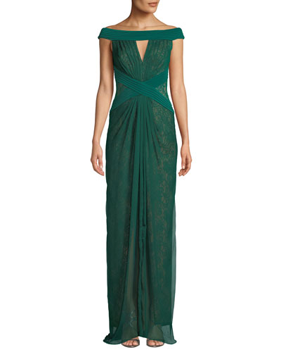 Off-the-Shoulder Pintuck & Lace Jersey Gown
