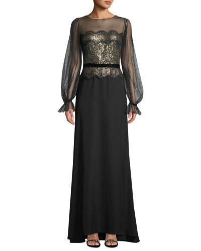 Long-Sleeve Lace Illusion & Crepe Gown
