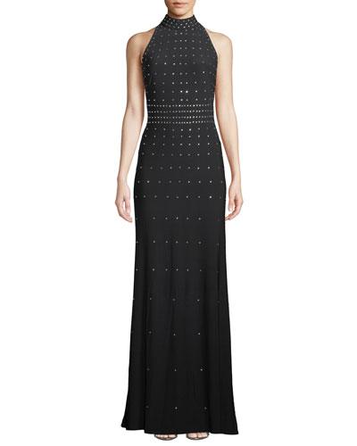 High-Neck Studded Sleeveless Gown