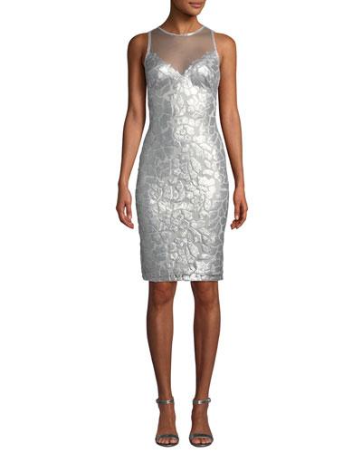 Sequin & Mesh Illusion Sleeveless Dress