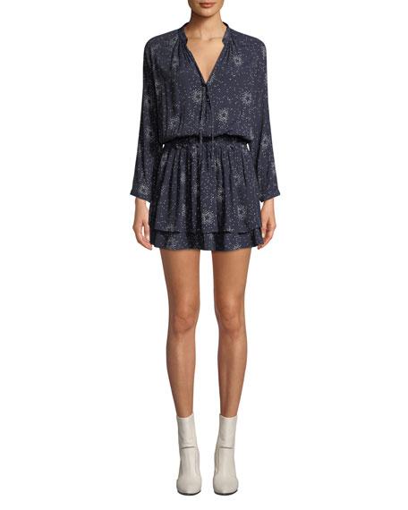 Jasmine Printed Long-Sleeve Mini Dress