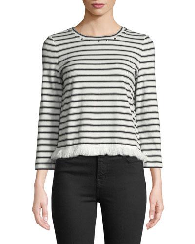stripe knit fringe top