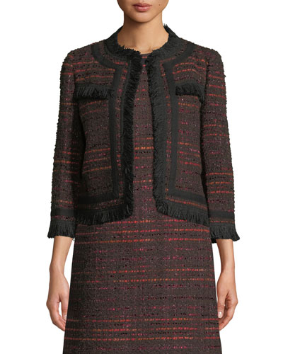 multi tweed fringe jacket