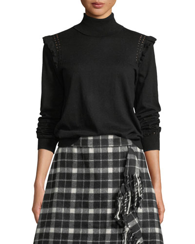 ruffle turtleneck sweater