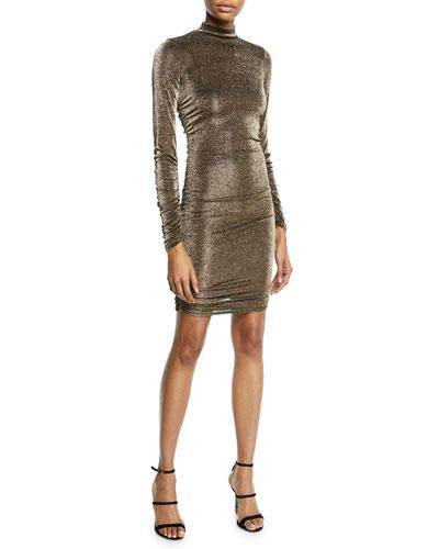 Wylie High-Neck Metallic Long-Sleeve Dress