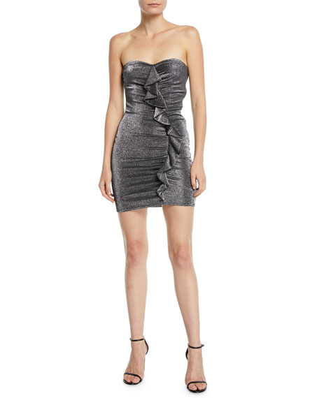 Likely Ali Strapless Metallic Ruffle Mini Cocktail Dress