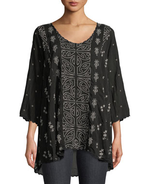 4bb13d34d0ea4e Johnny Was Ridden Embroidered 3/4-Sleeve Blouse