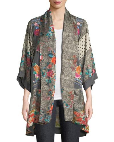 Ellamo Embroidered Silk Kimono, Plus Size