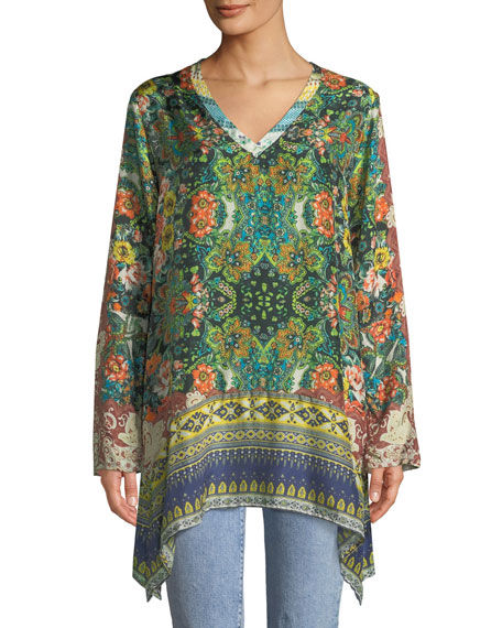 cf7460b635a Johnny Was Plus Size Paisley Silk Long-Sleeve V-Neck Tunic In Multi ...