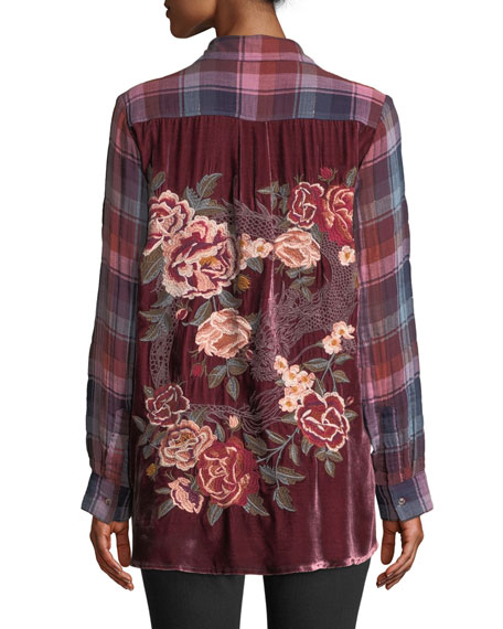 Loire Plaid Shirt with Embroidered Velvet Back