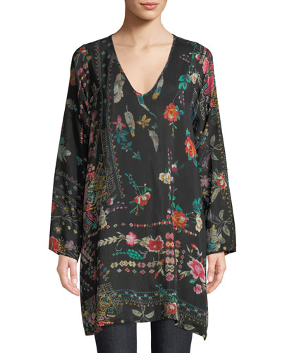 Canvasita Floral-Print Long-Sleeve Easy Blouse