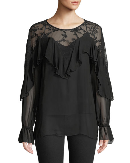 Johnny Was Karin Mesh-Yoke Ruffle Georgette Blouse