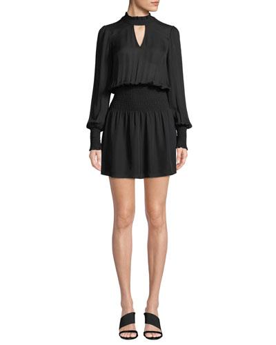 Robyn Smocked High-Neck Short Dress