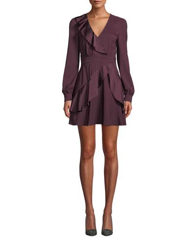 Nancy Long-Sleeve Ruffle Combo Mini Dress