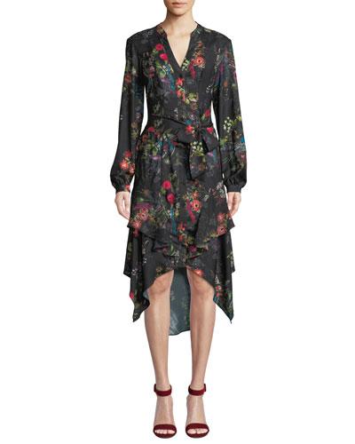 Estella Floral Button-Front Ruffle Midi Dress
