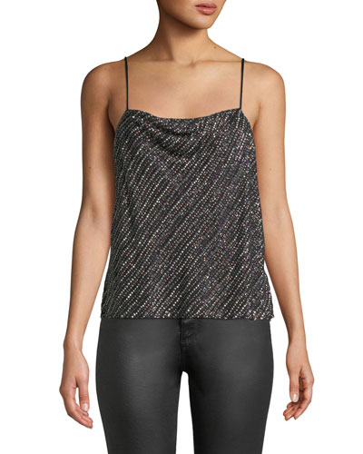 Summer Sequined Cowl-Neck Tank